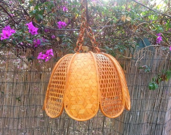 Lámpara de techo mimbre/ vintage wicker hanging lamp