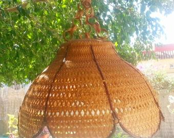 Lámpara de mimbre techo/ vintage wicker hanging lamp