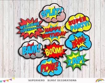 Superhero Printable Party, word bubbles, Party Decorations, Superhero Party Supplies Superhero Birthday Decor,Superhero INSTANT DOWNLOAD