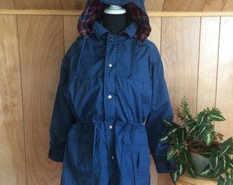 Vintage Blue Woolrich Raincoat Flannel Lining with Hood, Pockets Women's L