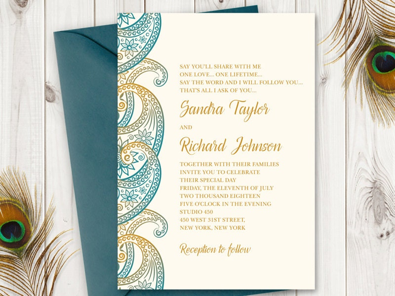 Wedding Invitation Template Paisley In Teal And