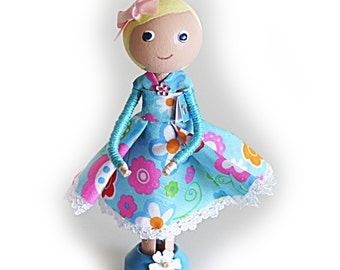 SALE Clothespin Doll with Birthday Card, Cake Topper