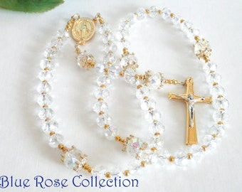 Miraculous Medal crystal rosary, gold tone crystal rosary, Catholic gift, Baptism, Communion, Confirmation, RCIA, Wedding etc.
