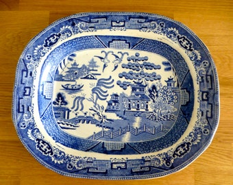 Vintage Willow Pattern Serving Plate 335 x 275 mm