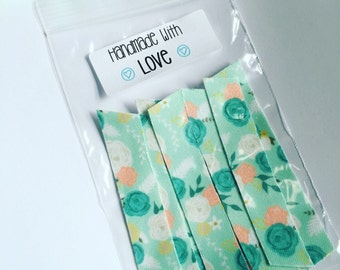Set of 8 , no fray floral fabric tape strips