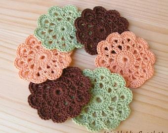 6 x Crochet Mini Doilies, Handmade Crochet Embellishment, Small Crochet Doilies, Crochet Flowers,  Appliques - set of 6