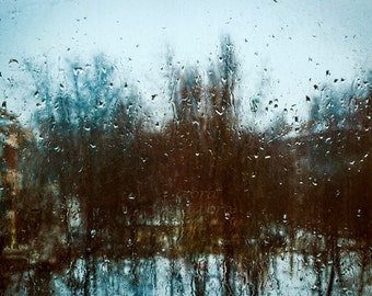 Rainy day landscape Instant Digital Download Art Photography Printable, drops of water on window, dark watercolor landscape, blue and brown