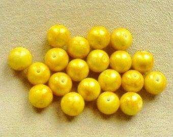 Yellow glass beads; bright sunshine yellow, round glass beads with marigold veining, 10mm, 8pcs/1.60