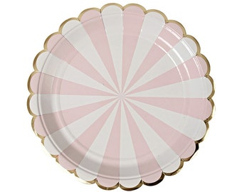 Dusty Pink and White Small Plates - Set of 8 Meri Meri Pastel Pink and White Stripe Small Plates- Great for b'day parties & showers!