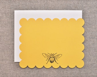 Bee Note Cards - Set of 4 Flat Note Cards - Bee Stationary - Bee Notecards - Bee Card - Blank Bee Card