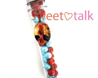 SPIDERMAN Party Favour - Candy Test Tube with Chocolates. Perfect for Birthday Party Loot Bags
