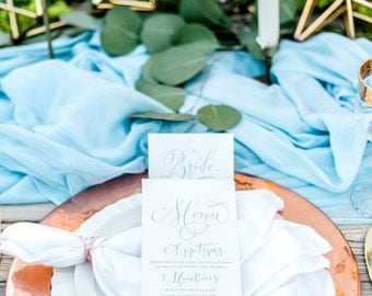 Custom Hand-Painted Wedding Reception Menus with Hand-Lettered Calligraphy