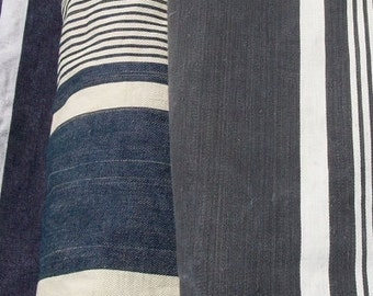 Lot of Vintage French Fabric Navy Striped Ticking Pieces Linen Herringbone Weave Midnight Blue