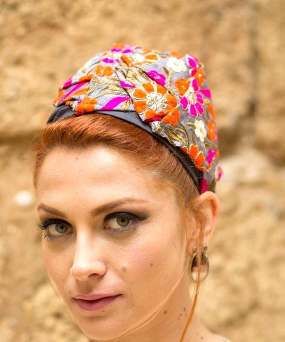 Church Hat/Floral Print/Embroidered Headband/Orange Gray Fuchsia/Adjustable Headband/Jewel Colors/India Inspired/Rhombus/Fancy Hair Wrap