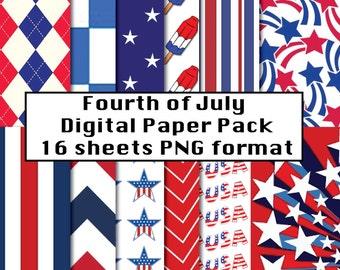 Fourth of July Scrapbook Paper, Digital Paper Fourth of July, Scrapbook Fourth of July, Digital Paper Scrapbook Paper
