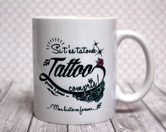 "Mug ""Tattoo"". Customizable Cup. Gift for tattooed. Text and graphics by Piou creations"