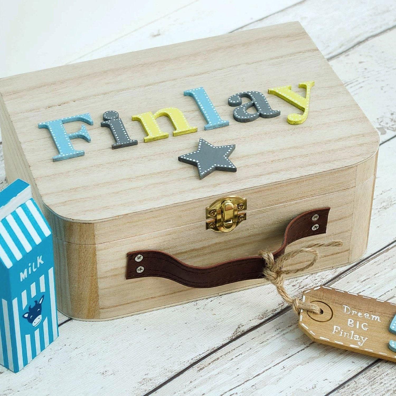 Personalised Baby Gifts Keepsake Boxes : Baby memory box keepsake children s suitcase style