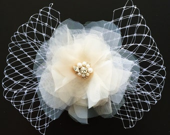 Birdcage and Flower Bridal Hairpiece