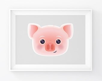 Baby girl room art. Nursery Wall Art. Printable Pink Pig Wall Art. Pink Poster. Cute Animal Poster. Instant Download. Baby girl room decor