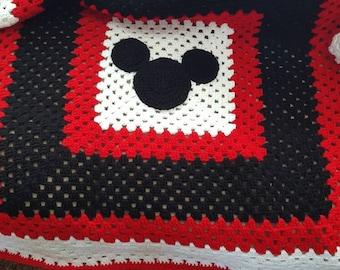 Crochet mickey mouse granny square  blanket