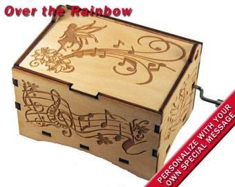 "Fairy Jewelry Music Box, ""Over the Rainbow"", Laser Engraved Wood Hand Crank Storage Music Box"