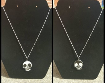 Black or White Jack Skellington sterling silver necklace