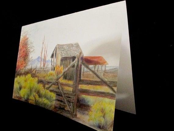 At Porter Rockwell Ranch, Utah, colored pencil card print