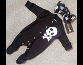 Skeletots baby girl skull & bones romper suit with headband baby goth 0-3m to 12m