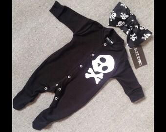 Skeletots baby girl skull & bones romper suit with headband baby goth 0-3m to 12m