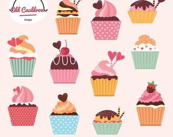 Cupcakes clipart commercial use, sweets, birthday clipart, cake clipart, vector graphics, vector cliparts CL048