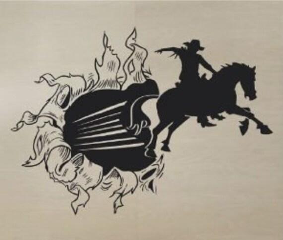 Cowboy Bursting Through Wall Decal by DecalFoundation