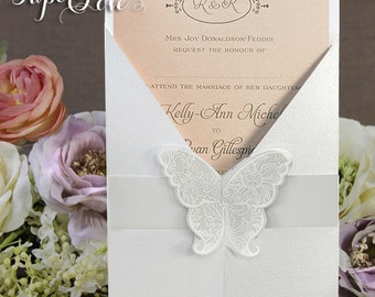 Large Butterfly Seal Simple Wedding Day / Wedding Evening Invitation Multiple Colours Gatefold Personalised