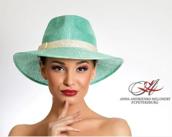 Mint Light Turquoise Fashion millinery summer sun straw hat. Fedora style sun straw hat. Classic style sun hat. Exclusive everyday  hat