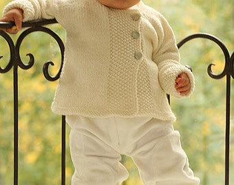 Baby jacket, Cardigan, handknit with  merino wool superwash, for baby, child (not the hat, not the booties)