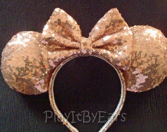 "Rose Gold Super Sparkle ""Starlight Collection"" Handmade Custom Mouse Ears inspired by Disney"