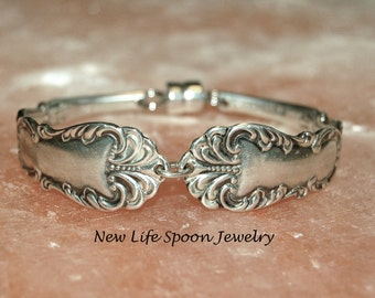 "Spoon Bracelet ""Regent/Glasgow"" Ornate Vintage Jewelry Antique Bracelet Wedding Gift Handmade Jewelry Silverplate Bracelet-230"