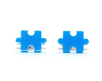 Jigsaw Puzzle Stud Earrings - Blue // Jigsaw Earrings / Puzzle Earrings / Jigsaw Puzzle Earrings / Puzzle Piece Earrings / Blue Earrings
