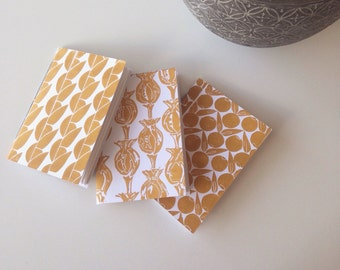 Lino Printed and Hand Bound A6 Notebook Mustard Multipack of Three