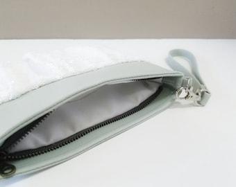 Faux Leather and Sequin Wristlet - Mint Vinyl, White Dull Shine Sequin, Matte Satin