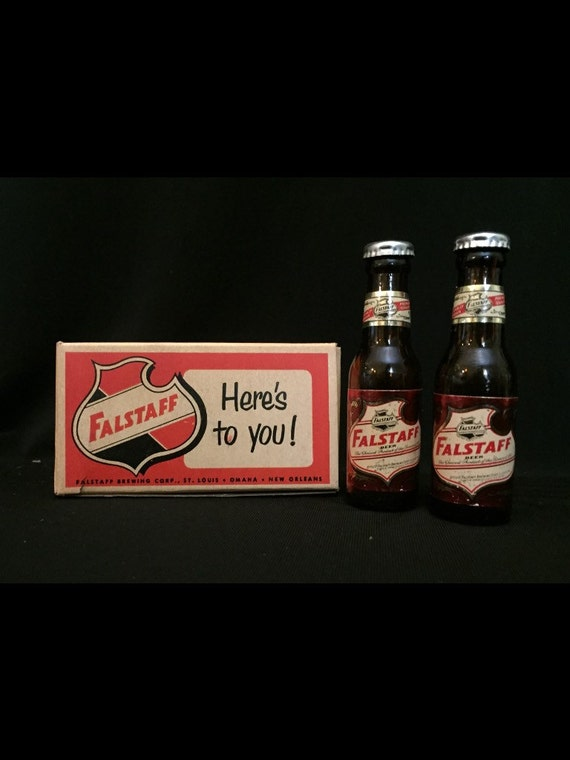 Free Shipping-Vintage-Falstaff-Beer-Miniature-Glass-Breweriana-Salt & Pepper Shakes-New Old Stock-In Original Box