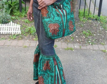 Green and Black Ankara Shoulder Bag, African Wax Crossbody Bag - Made to Order