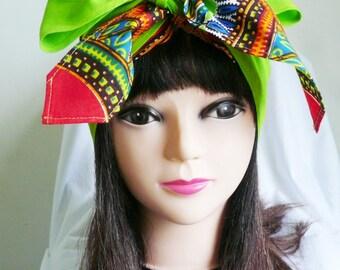 Green Angelina African Wax Jiffy Head Wrap, African Wax Headtie, Dashiki Head Scarf,  Stylish Hair Accessory