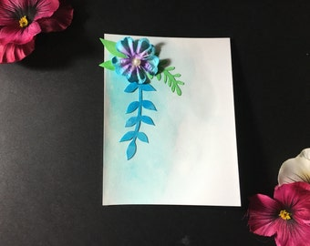 Blue, Green, and Purple Flower and Leaves