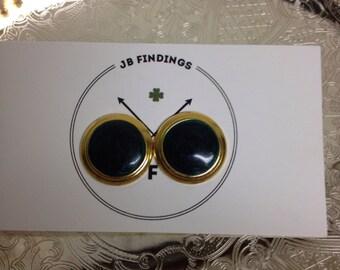 Vintage Dark Green Stud Earrings