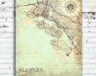 ALAMEDA CA Canvas Print California CA Vintage map Alameda City California ca Vintage map Wall Art Gift Decor poster retro old wall art map