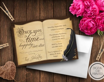 Book Themed Baby Shower Invitation, Storybook Themed, Once Upon a Time Baby Shower Invitations, Book Themed, Baby Book, Library, Fairy Tale