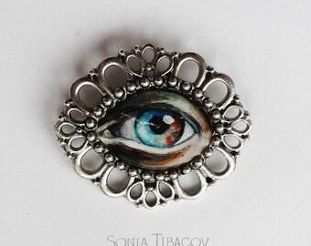 Hand painted eye brooch, Lovers Eye