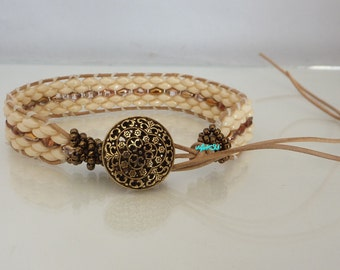 Wrap bracelet with ivory and bronze beads