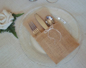 10 Burlap Silverware Holders – Color: Tan/Brown/Natural, with White/Cream Burlap Bow
