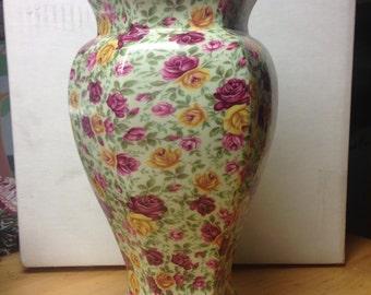 "Crown Burslem Chintz Vase - 9""+"
